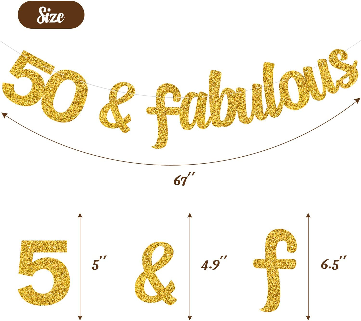 MAGBEA 50 /& Fabulous Banner Milestone Birthday Party Decor Happy 50th Birthday Party Decoration for 50th Birthday Wedding Anniversary Supplies Gold Glitter /& Double Sided