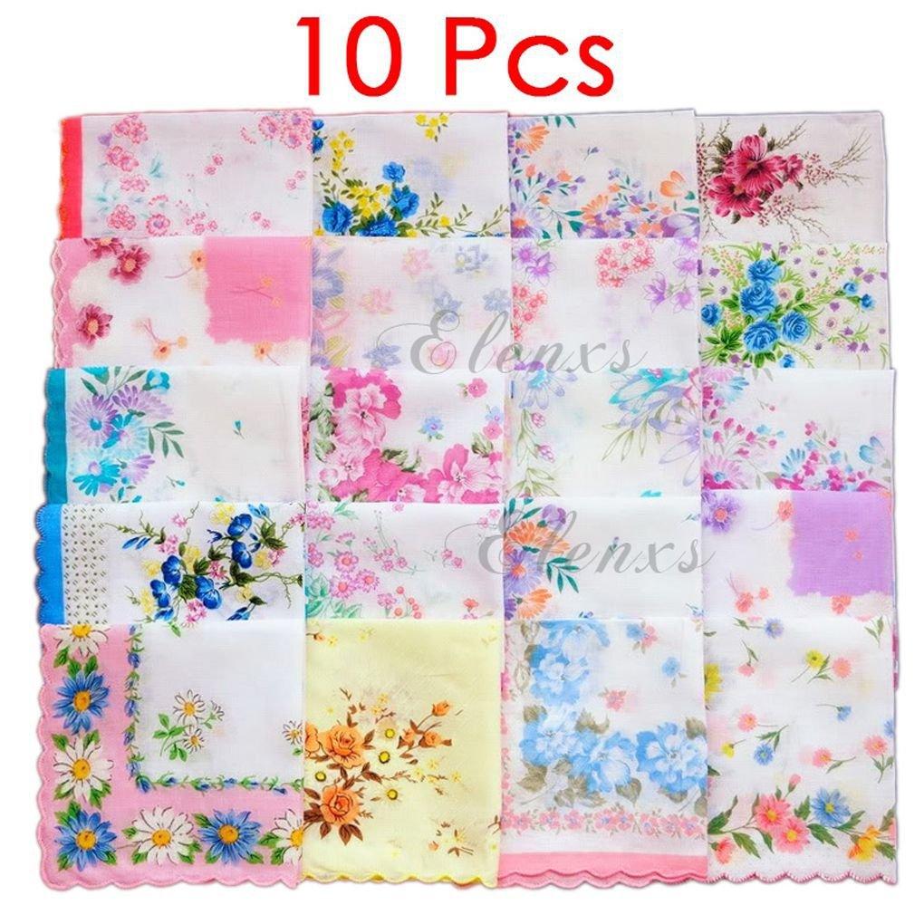 Sunlera Womens Girls Handkerchiefs Vintage Floral Print Cotton Blossom Flower 30x30cm Hand Towel