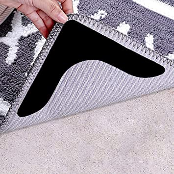 Rug Tape Keeps Your Rug in Place and Makes Corner Flat Non Slip Carpet Grippers Rug Grippers Anti Curling Rug Grippers Adhesive Carpet Tape for Hardwood Floors Tile /& All Surface 24 Pack, White