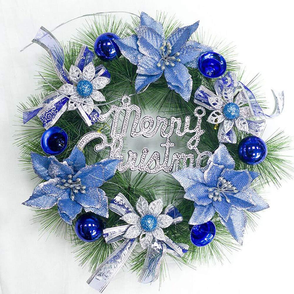 HighlifeS Merry Christmas Wreath Decor, Grapevine Wreath Front Door Wreaths Decor (Blue)