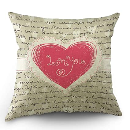 Moslion Heart Pillow Case Love Quote Letter for Valentine Throw Pillow Cover 18x18 Inch Cotton Linen Decorative Square Cushion Cover for Happy New ...