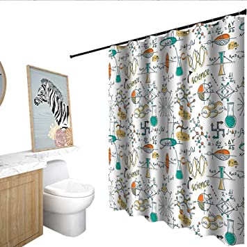 Homecoco Doodle Flower Shower Curtain Science Lab Objects Education Themed Drawing Scientific Formulas Biology Chemistry