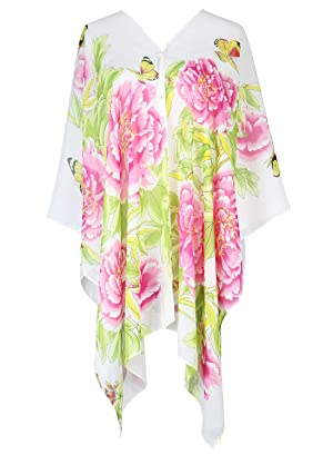 S.K LUXURY Women's Summer Beach Floral Printed Chiffon Caftan Poncho Tunic Top Cover Up Beige-411 One Size