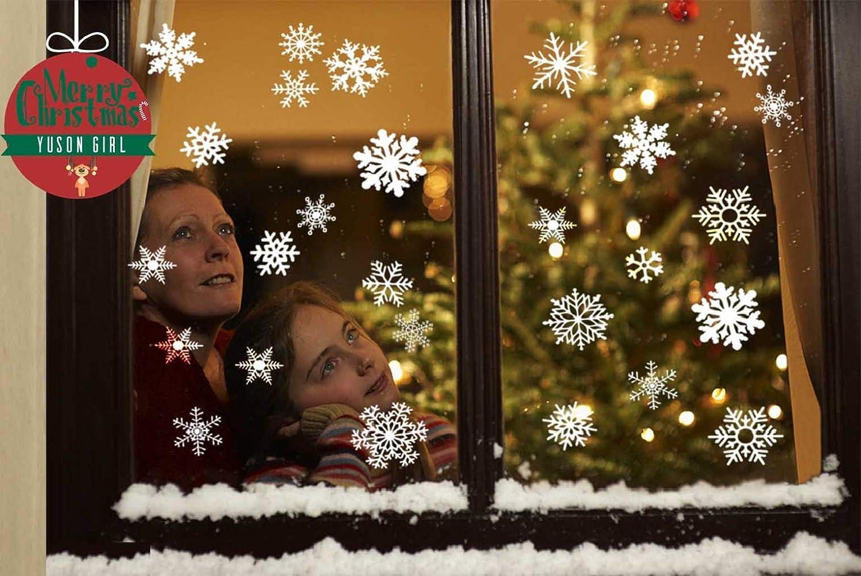 Adesivi Decorativi Natalizi,Yuson Girl Romantic Atmosphere Natale Fiocchi Di Neve Finestra Decori Adesivi per Natale Partito Casa Bambini Decor 6 fogli, 104 Fiocchi di neve