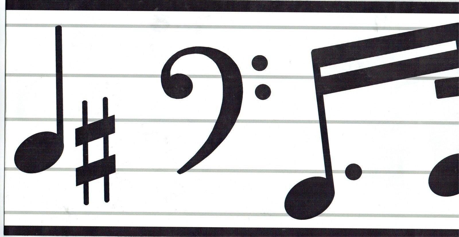 Wallquest TH20650B Musical Notes Wallpaper Border, White