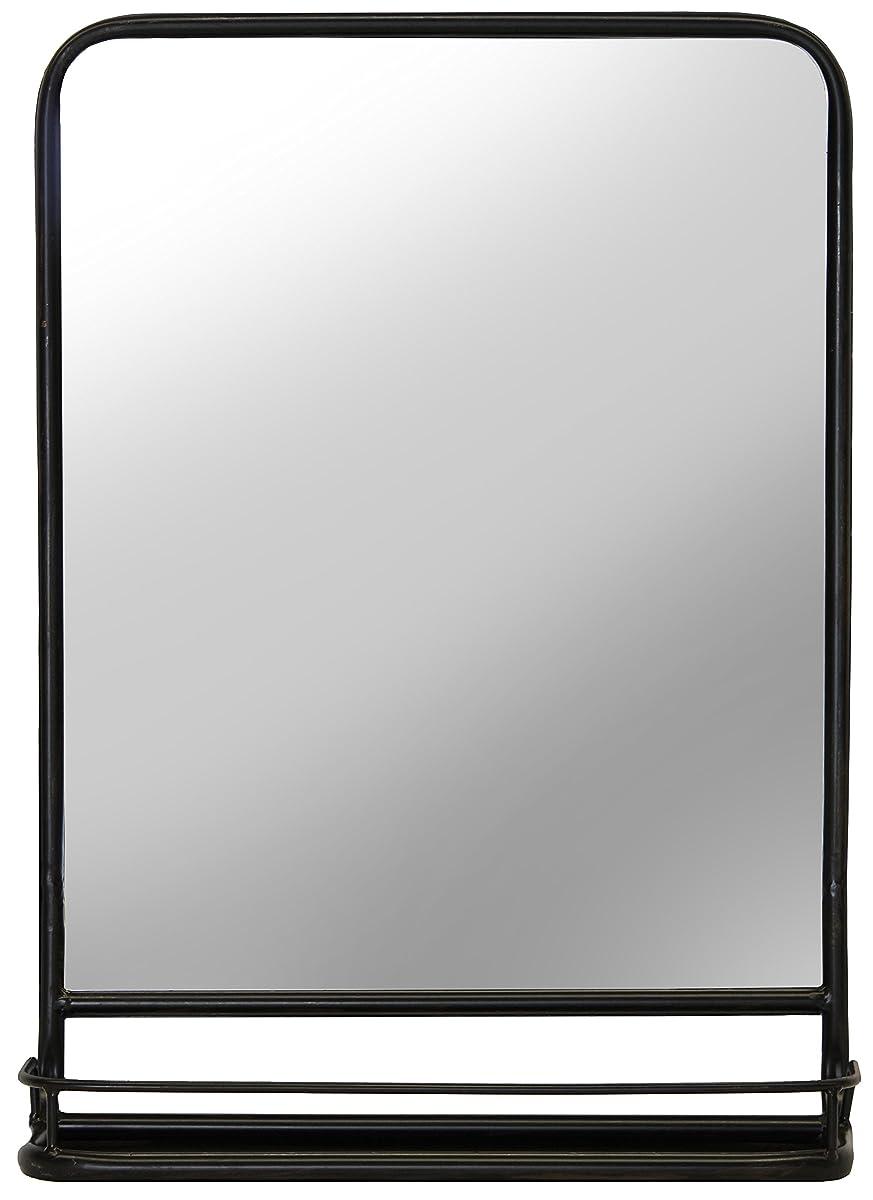 Urban Legacy Black Mirror, Metal Framed with Shelf (Vintage, Lightly Distressed (27 in. x 20 in.)