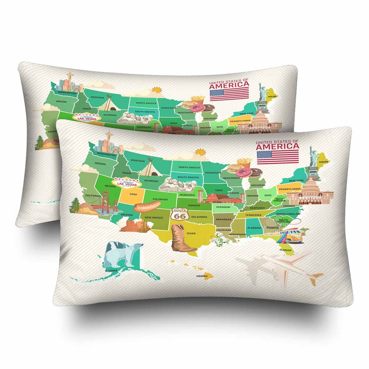InterestPrint Welcome To USA United States of America Map Pillow Cases Pillowcase Standard Size 20x30 Set of 2, Travel Theme USA Map Rectangle Pillow Covers Protector for Home Bedding Decorative