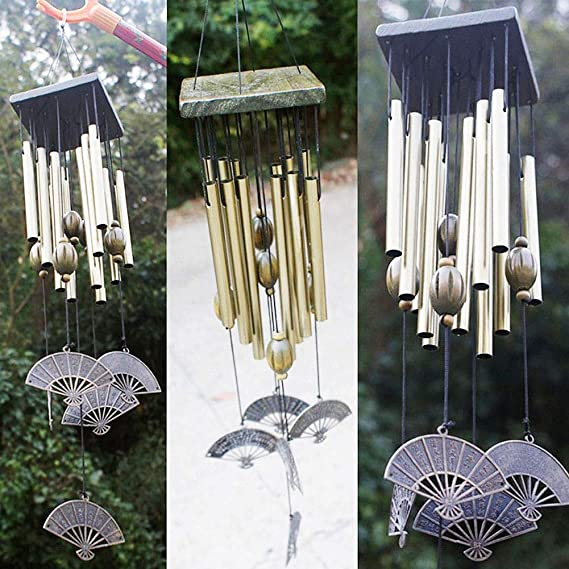 Large Gold 27 Tubes Windchime Chapel Bells Wind Chimes Door Hanging Home Decor