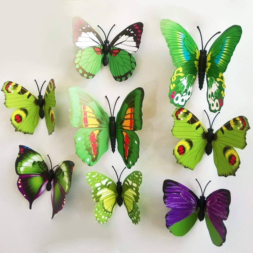 LiveGallery 72 PCS 6 Colors Removable 3D DIY Beautiful Butterfly Wall Decals Colorful Butterflies Art Decor Wall Stickers Murals for Kids Baby Boy Girls Bedroom Classroom Offices TV Background by LiveGallery