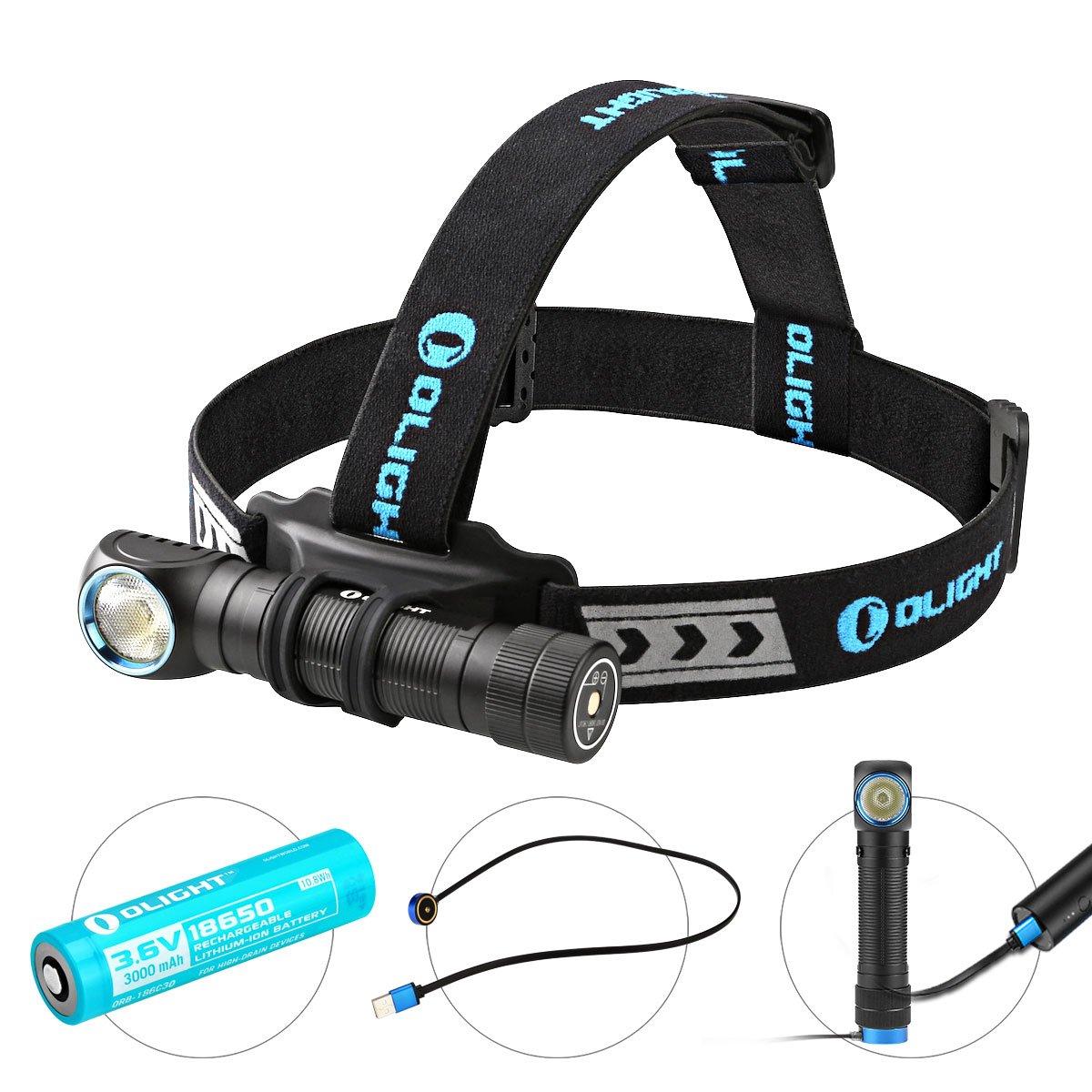 Olight® H2R Nova Stirnlampe Taschenlampe Multifunktionslampe aufladbar mit CREE XHP50 LED Max 2300 Lumen,1 x 18650 3000mAh Akku, Kaltweiß