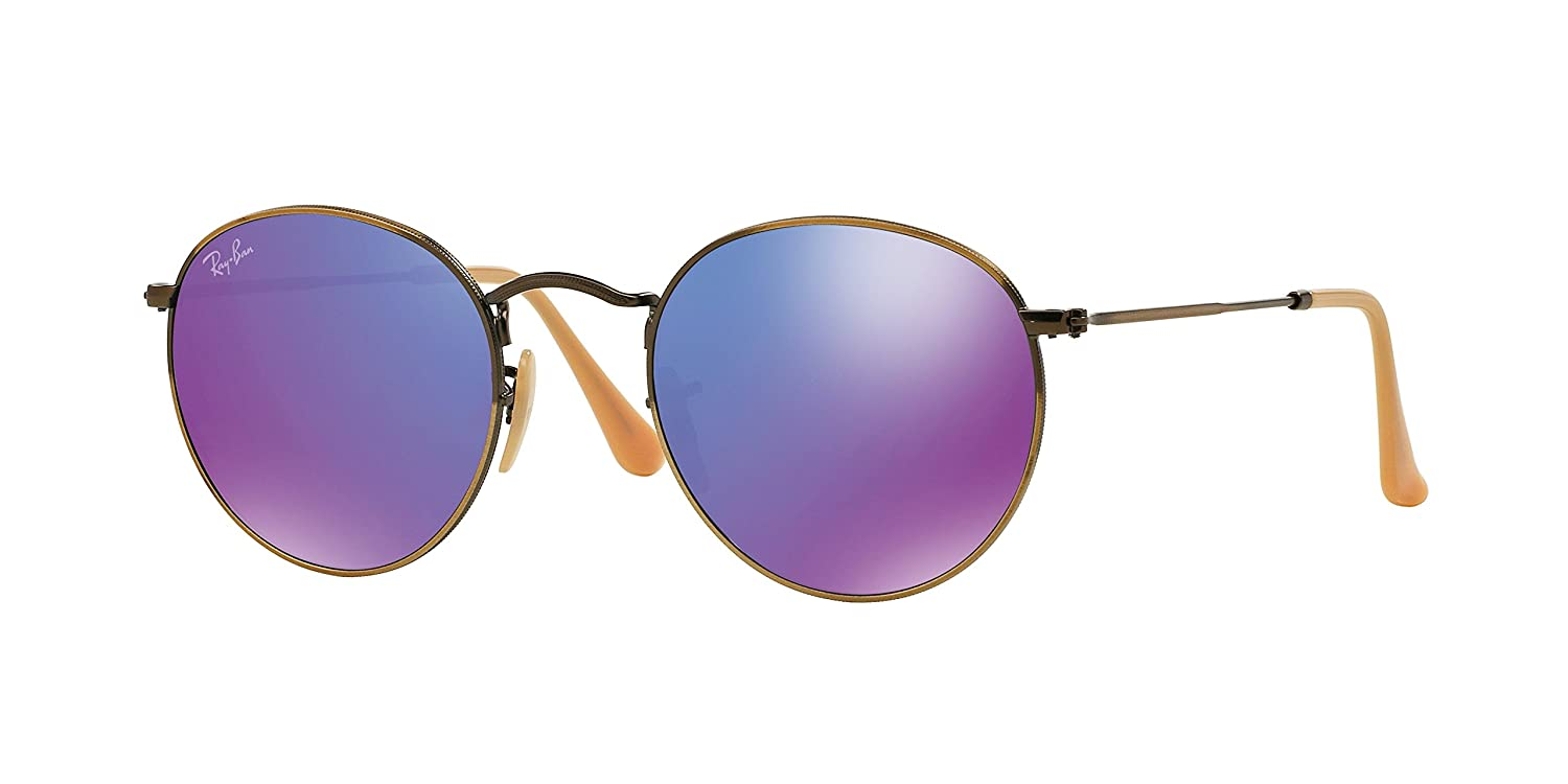 d8de7f92d8 Ray-Ban Round Violet Mirror Sunglasses RB 3447 167 1M 50mm + SD Glasses +  Kit  Amazon.co.uk  Clothing