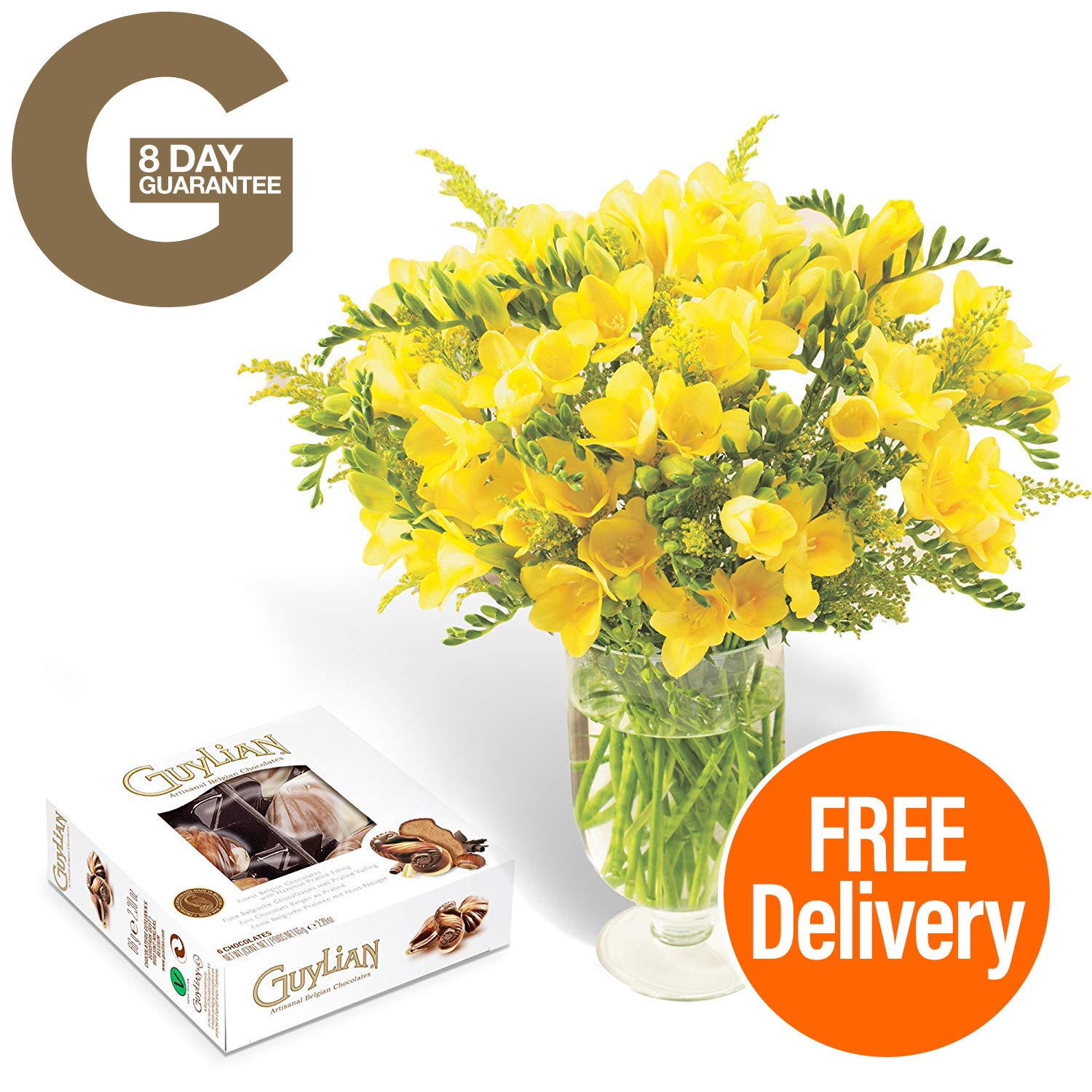 0f0f12ee03063 Fresh Flowers Delivered - Delivery Included - Yellow Guernsey Freesias  Bouquet with Chocolates