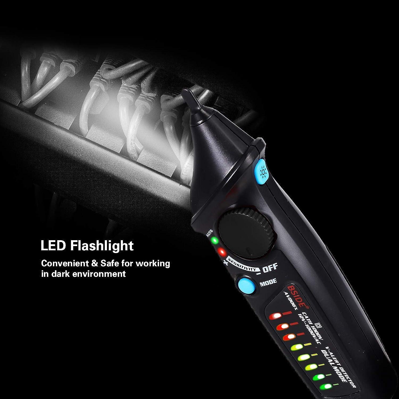 Neoteck testeur de Tension sans Contact /électrique d/étecteur de Tension AC 12/V-1000/V//48/V-1000/V Auto//Manuel Mode Double Testers /électrique avec LED Lampe de Poche