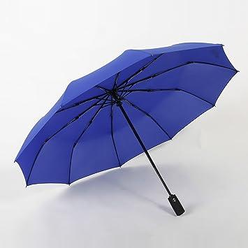 HAN-NMC Paraguas Paraguas Paraguas Plegable para Hombre y Mujer de Negocios, Paraguas Azul