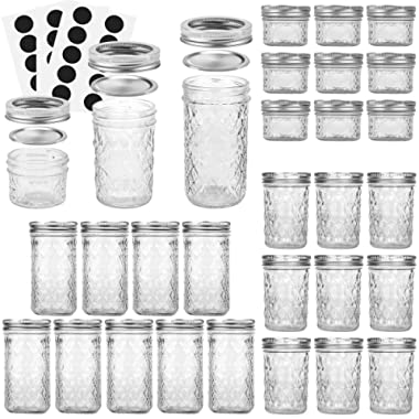 VERONES Mason Jars Canning Jars, Jelly Jars With Regular Lids, Ideal for Jam, Honey, Wedding Favors, Shower Favors, Baby Foods, DIY Magnetic Spice Jars, 4 OZ x 10, 8 OZ x 10, 12 OZ x 10