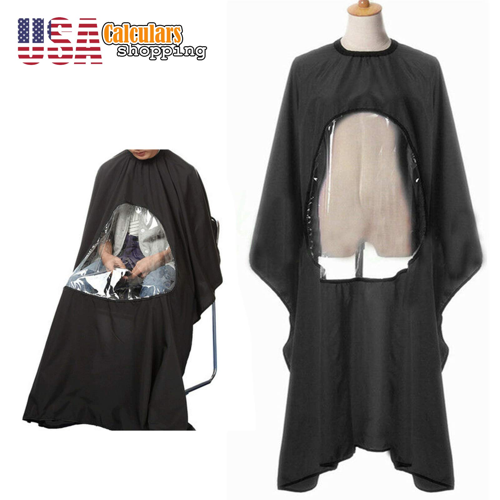 US Seller Salon Barber Hair Cutting Apron With Viewing Window Hairdresser Gown Cape by Calculars