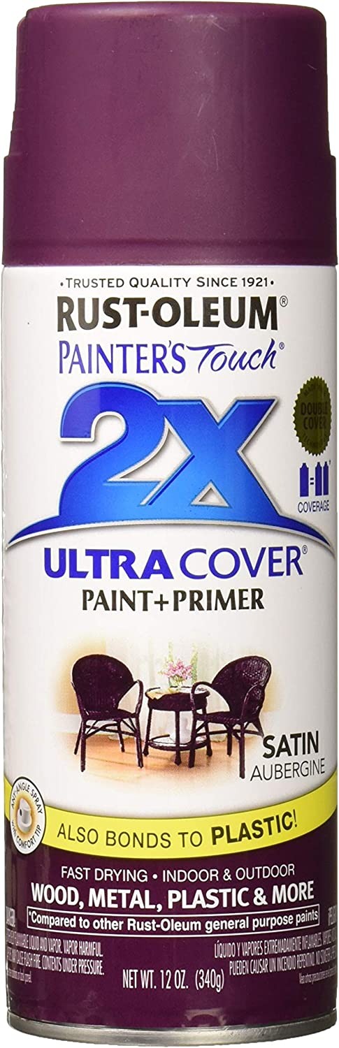 Rust-Oleum 257419 Painter's Touch 2X Ultra Cover, 12-Ounce, Satin Aubergine