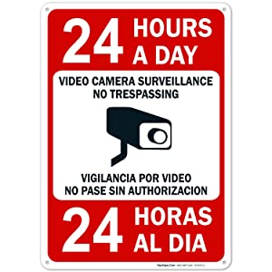 Video Surveillance No Trespassing Sign, Bilingual English and Spanish, 10x14 Rust Free Aluminum, Weather/Fade Resistant, Easy Mounting, Indoor/Outdoor Use, Made in USA by Sigo Signs