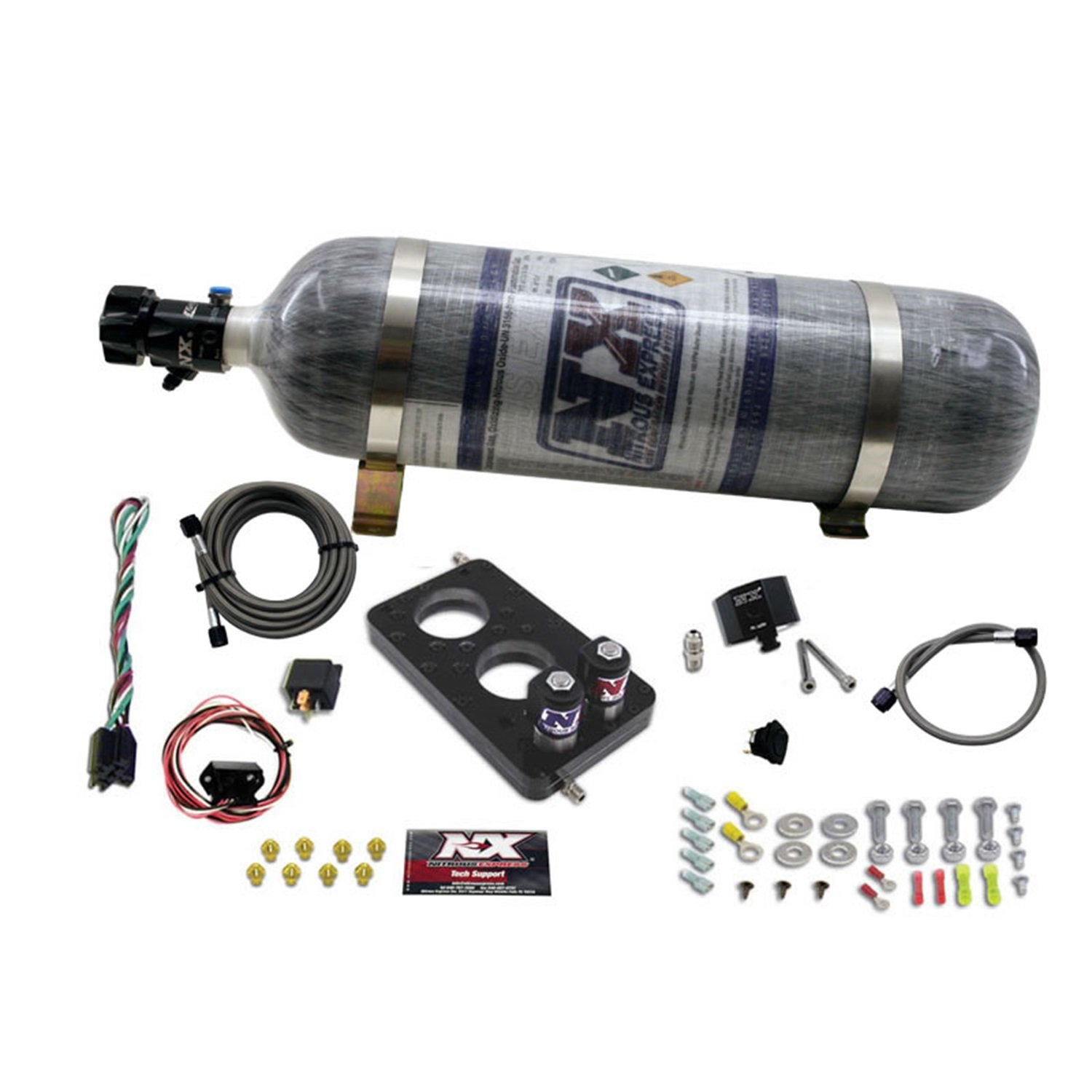 Nitrous Express 20947-12 50-150 HP 3-Valve Plate System with 12 lbs. Composite Bottle for Ford 4.6L Engine