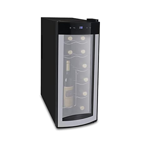 Amazon.com: iGloo 12-Bottle Wine Cooler with Curved Glass Door ...