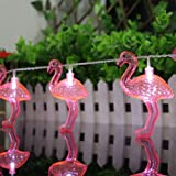 willway Set of 10 LED Battery-Operated Flamingo Lights String Lights