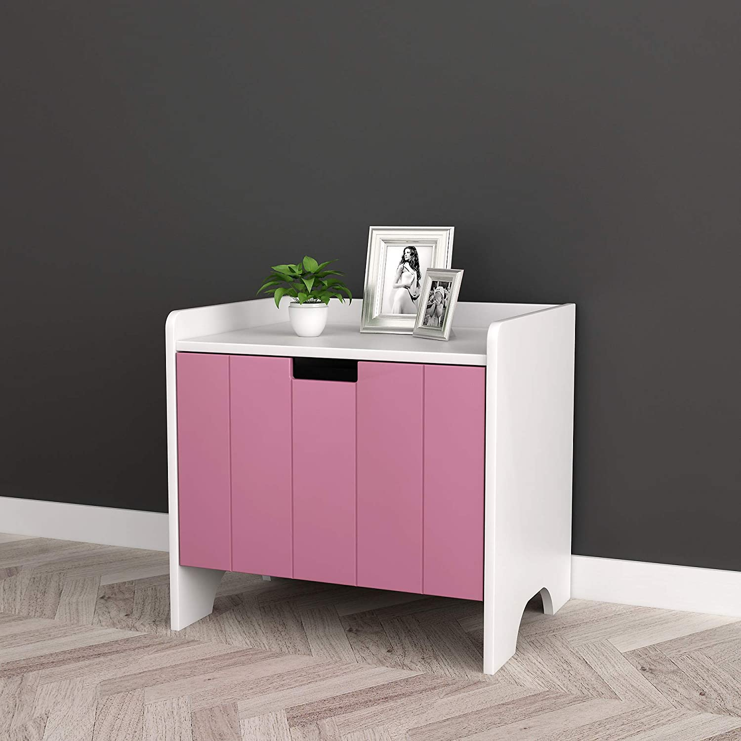White and Pink Finish Kids Room Nightstand Side End Table with Drawer for Books