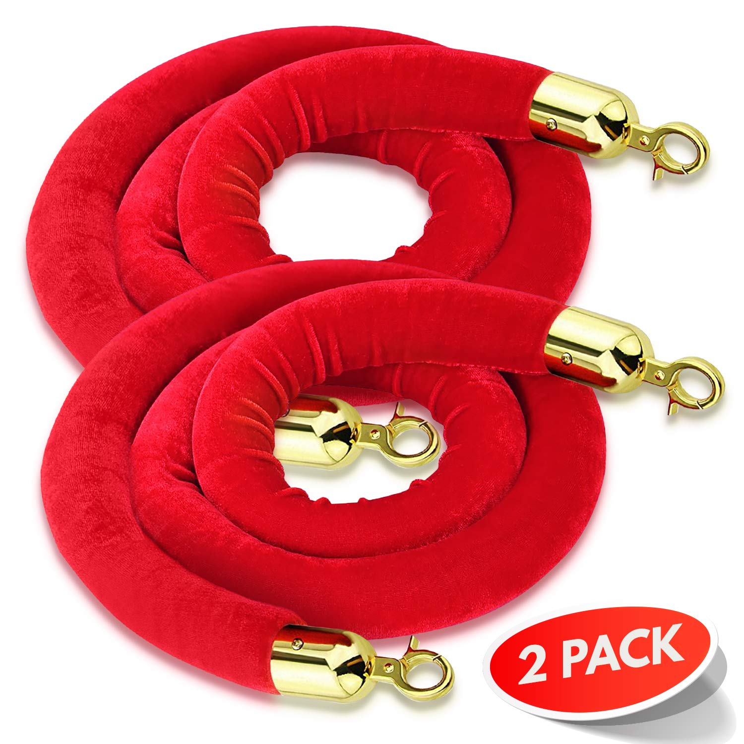 (2-Pack) 5 Feet Red Velvet Rope for a Stanchion Stands Amazing for Crowd Control, Works as a Barrier for a VIP Party Brass Gold Color Plated Hooks by Ray Squad