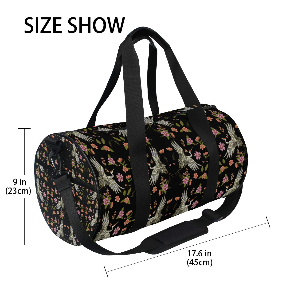 Sports Gym Duffel Barrel Bag Japanese Crane Flowers Travel Luggage Handbag for Men Women