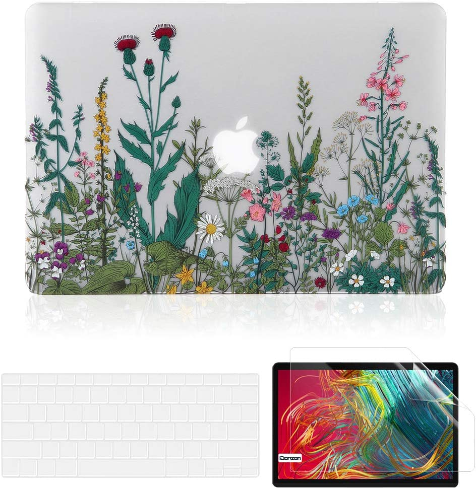 iDonzon MacBook Air 13 inch Case Set (A2179/A1932, 2020 2019 2018 Release), Matte Clear Hard Cover&Keyboard Cover&Screen Protector Compatible with Mac Air 13.3 inch Retina Display Touch ID - Flower