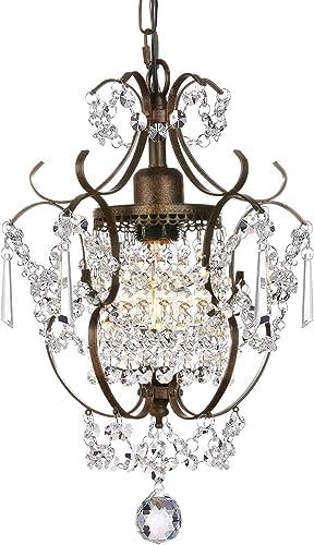 Derksic Mini Crystal Chandelier Antique Bronze Chandeliers 1 Light Iron Ceiling Light Fixture