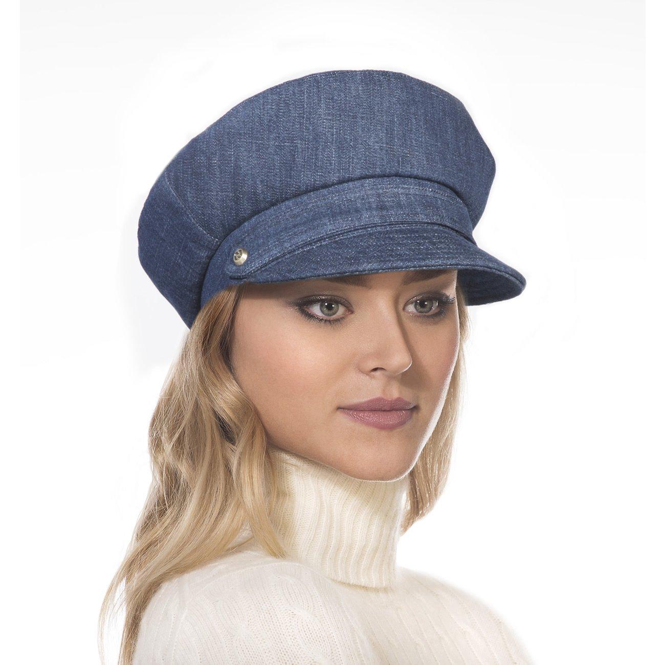 Eric Javits Luxury Fashion Designer Women's Headwear Hat - Denim Cap - Indigo