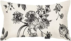 oFloral Throw Pillow Cover Vintage Floral with Victorian Bouquet of Black Flowers on Garden Roses Tulips Delphinium Petunia Cotton Linen Pillow Case Home Decor 12x20 Rectangle Inches Pillowcase