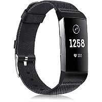 Fintie armband compatibel met Fitbit Charge 4/Charge 3 – geweven armband horlogeband van premium stof reserveband met roestvrijstalen gesp, zwart