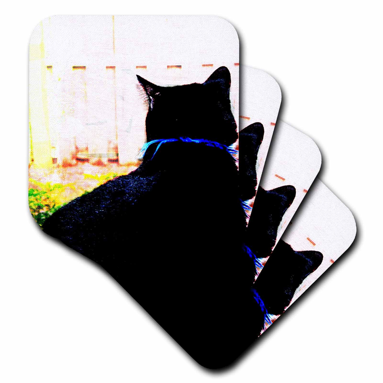 3dRose cst_155949_3 Black Cat From Behind Animal Looking Out Window Ceramic Tile Coasters, Set of 4