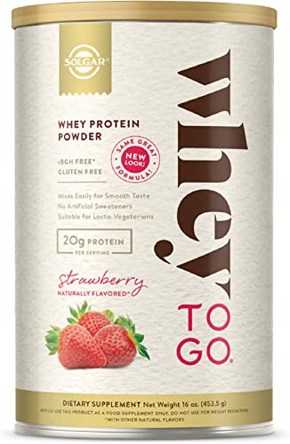 Solgar Whey To Go Protein Powder Natural Strawberry Flavor, 16 oz – Whey Protein Isolate and Concentrate – Mixes Easily for Smooth Taste – Gluten Free – 20g Protein per Serving