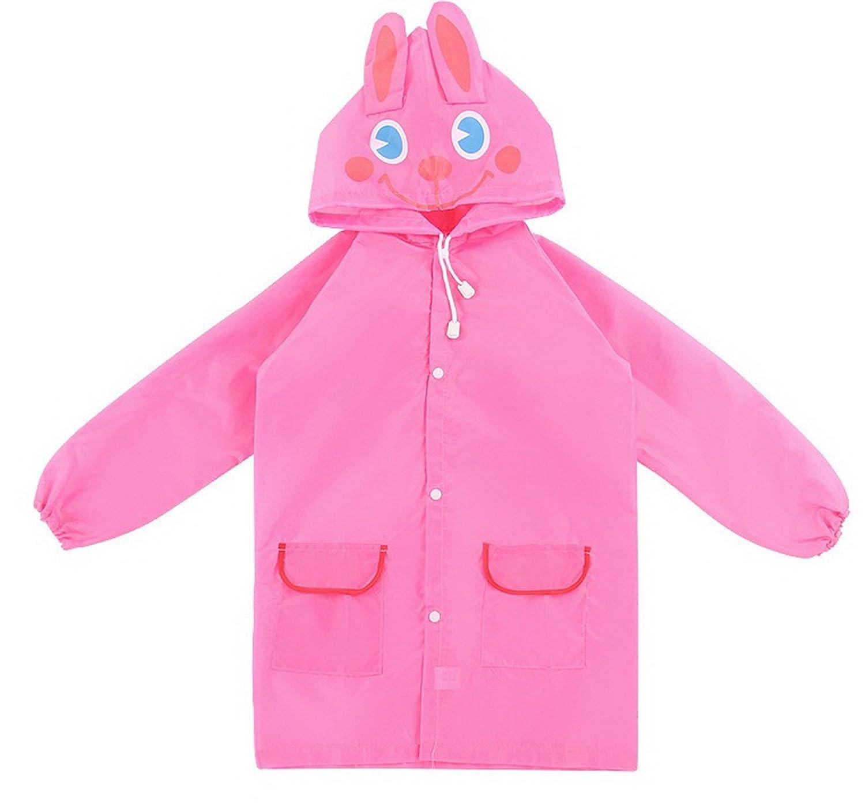 WSLCN Waterproof Coats Unisex Kids Poncho Hooded Rain Jacket Raincoat Windproof Cute Blue Car YY0399-5