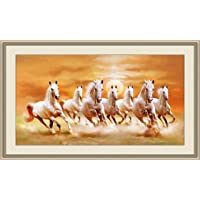 Running Seven Horse Decorative Framed Artwork Paintings for Wall Art Living Room Bedroom Home Office Décor