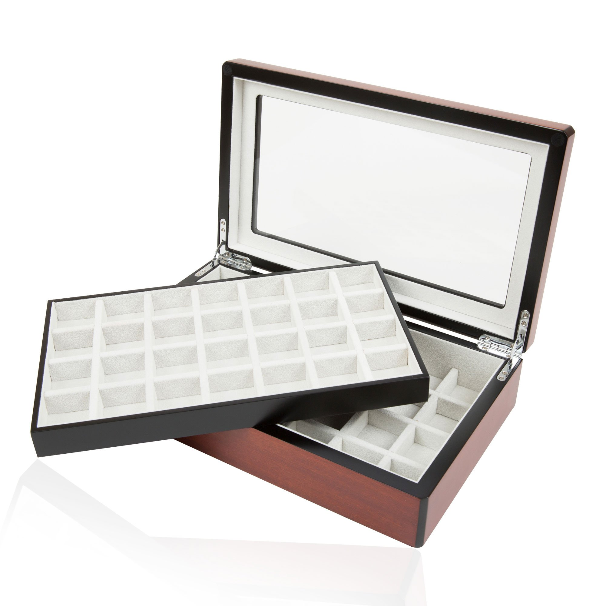 Cuff Links Walnut Double-Decker Storage Box/Case for up to 58 Pairs by Cuff-Daddy