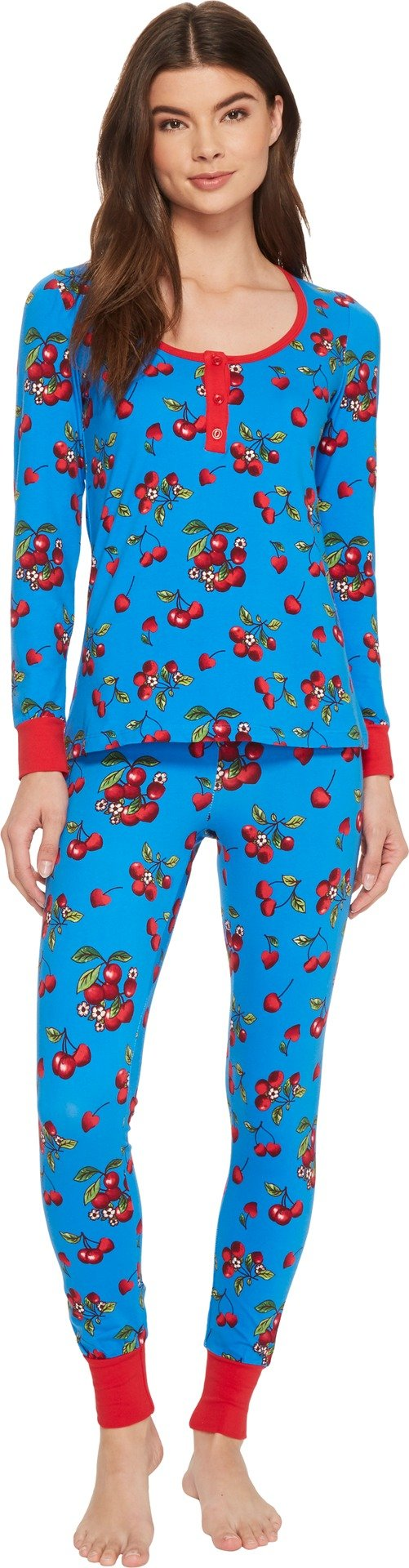 BedHead Women's Long Sleeve Henley Two-Piece Pajama Set Teal Cherries In Bloom Small