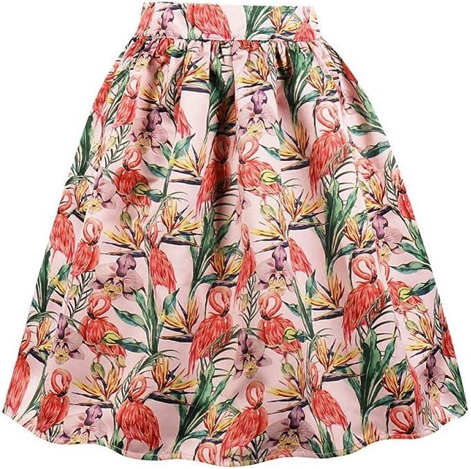 GYYWAN Falda con Estampado De Rosas Rojas Faldas Plisadas Blancas ...
