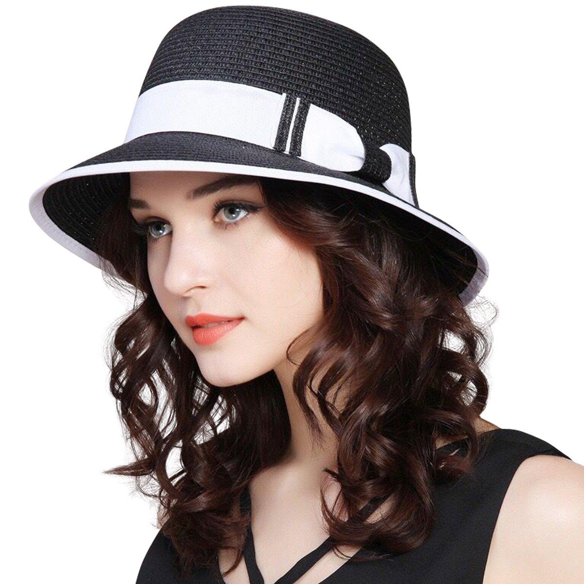 JOYEBUY Women Wide Brim Fedora Beach Sun Hat Straw Summer Packable Cap UPF50+ (A-Black)