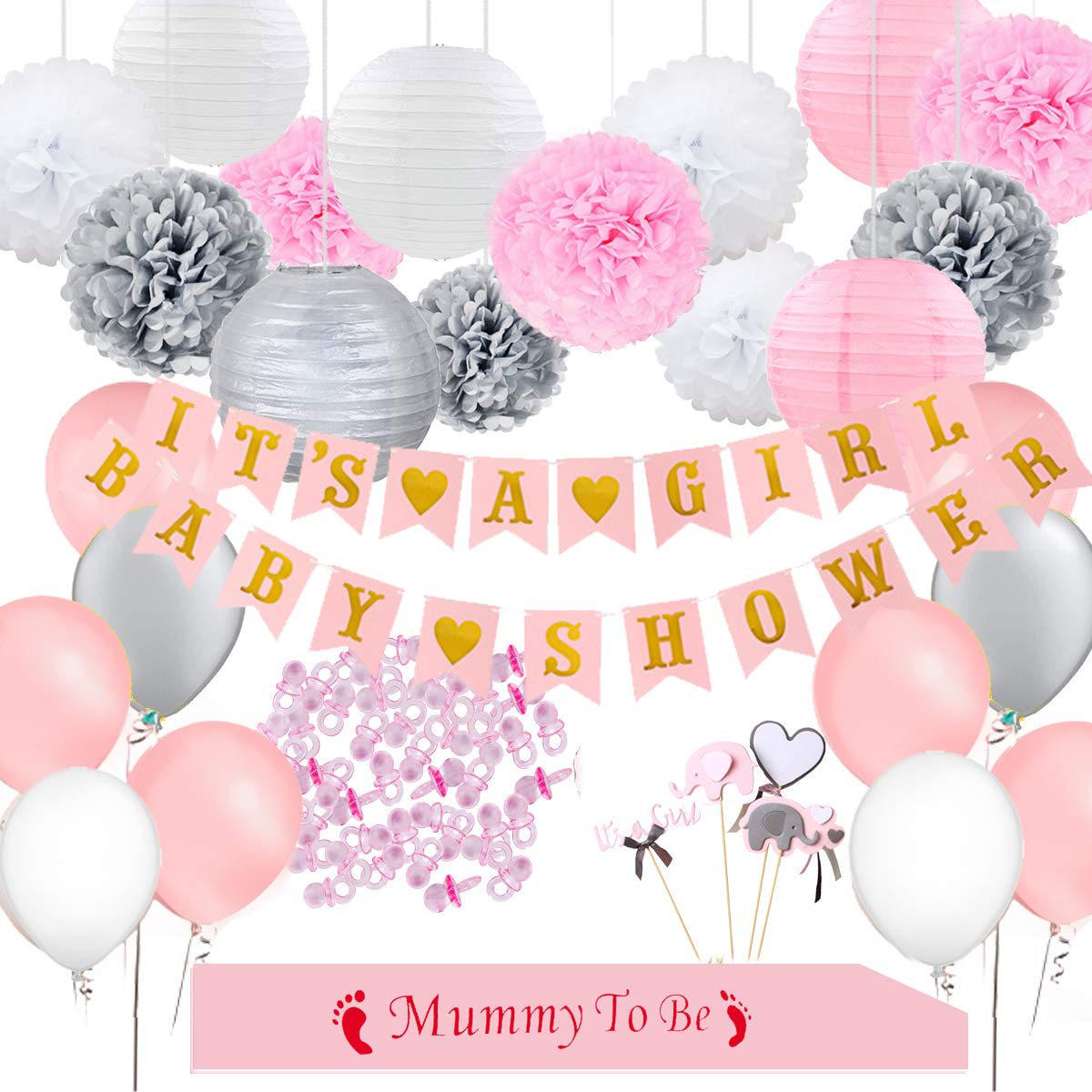 Baby Shower Decorations for Girl, It's A Girl Banner, Mommy to Be Sash, Elephant Cake Topper, Colorful Pompoms, Paper Lanterns, Balloons, Pink Grey White Party Supplies Nursery Room Decor