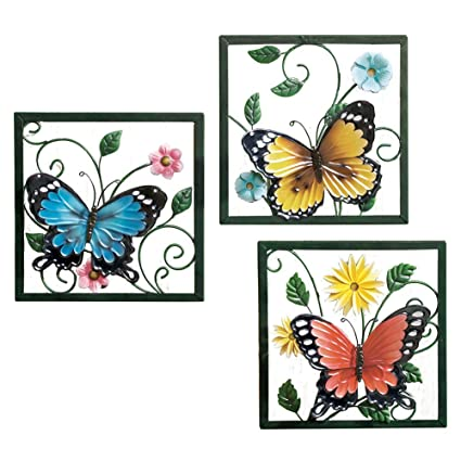 Amazon.com: Collections Etc Fluttering Butterfly Wall Art Trio: Home ...