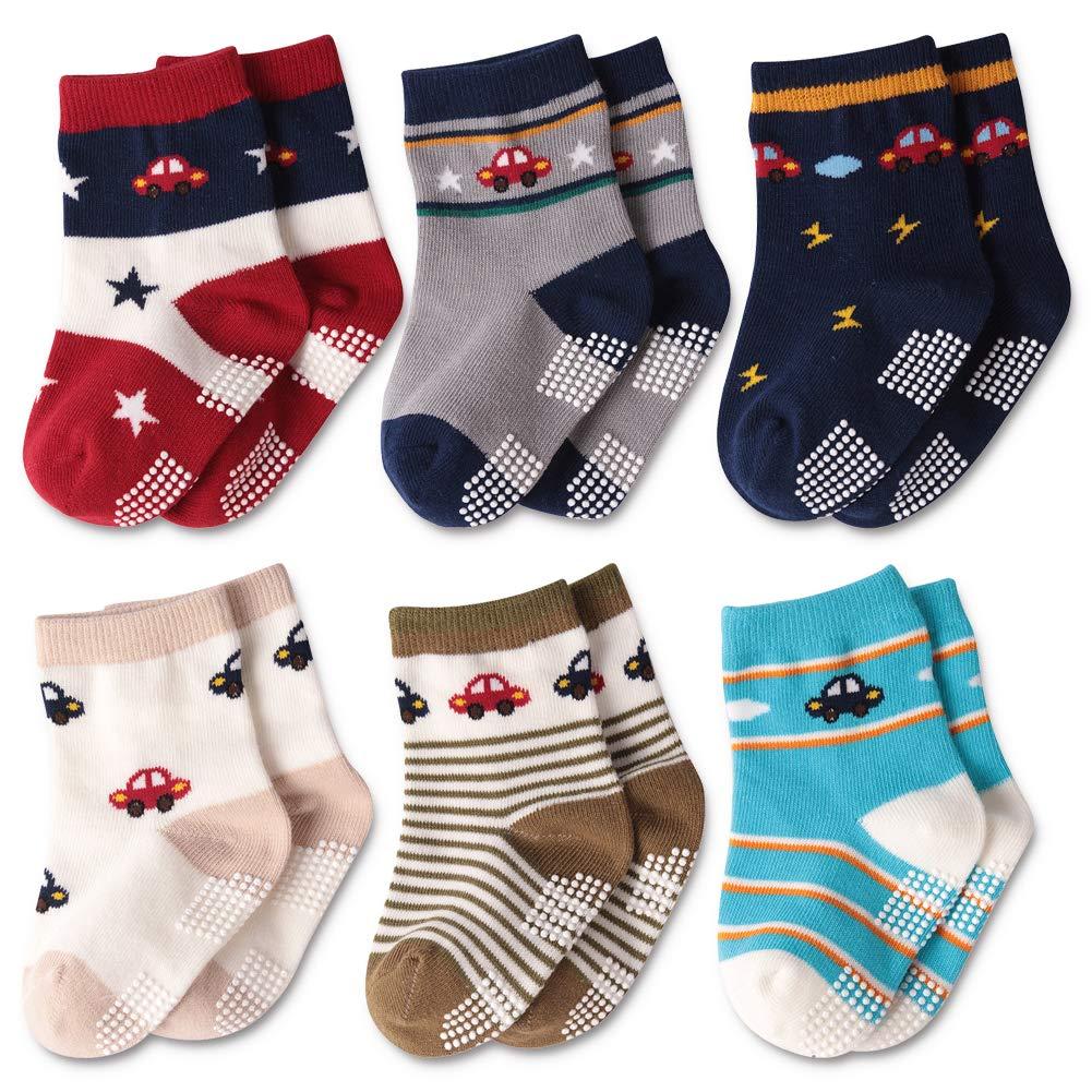 Baby Girls Anti Skid Toddlers New Born Mary Jane Dress Socks BABIBEAN Soft Quarter Socks 0-12 Months 6 Pairs Bulk Gor Babies