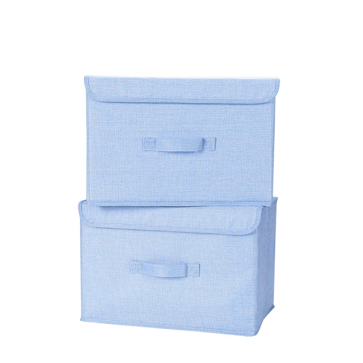 Closet Nursery Office Bedroom Navy Blue Living Room HOKEMP Extra Large Foldable Storage Cubes Bin Box Containers with Lid Gray for Home