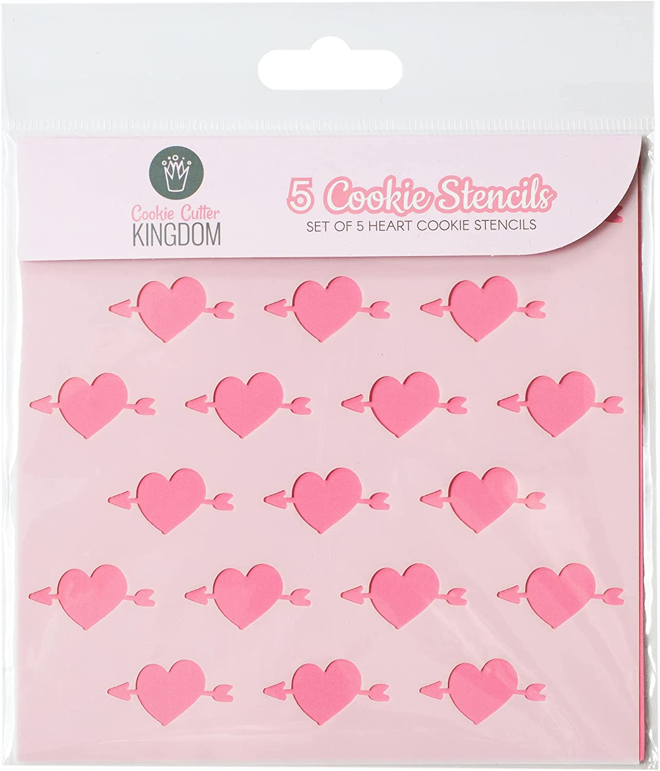 Hearts Cookie Stencil for Food Decorating. 5 Piece Cookie Cutter Kingdom Stencil for Royal Icing or Food Spray. 5.5 x 5.5 Inch Size. Valentine's Day Stencil.