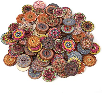 100Pcs Decorative Buttons for Crafts 10 Inch Vintage Wood Buttons with 10  Holes for DIY Sewing Craft Decorative, Mixed Pattern (105mm)