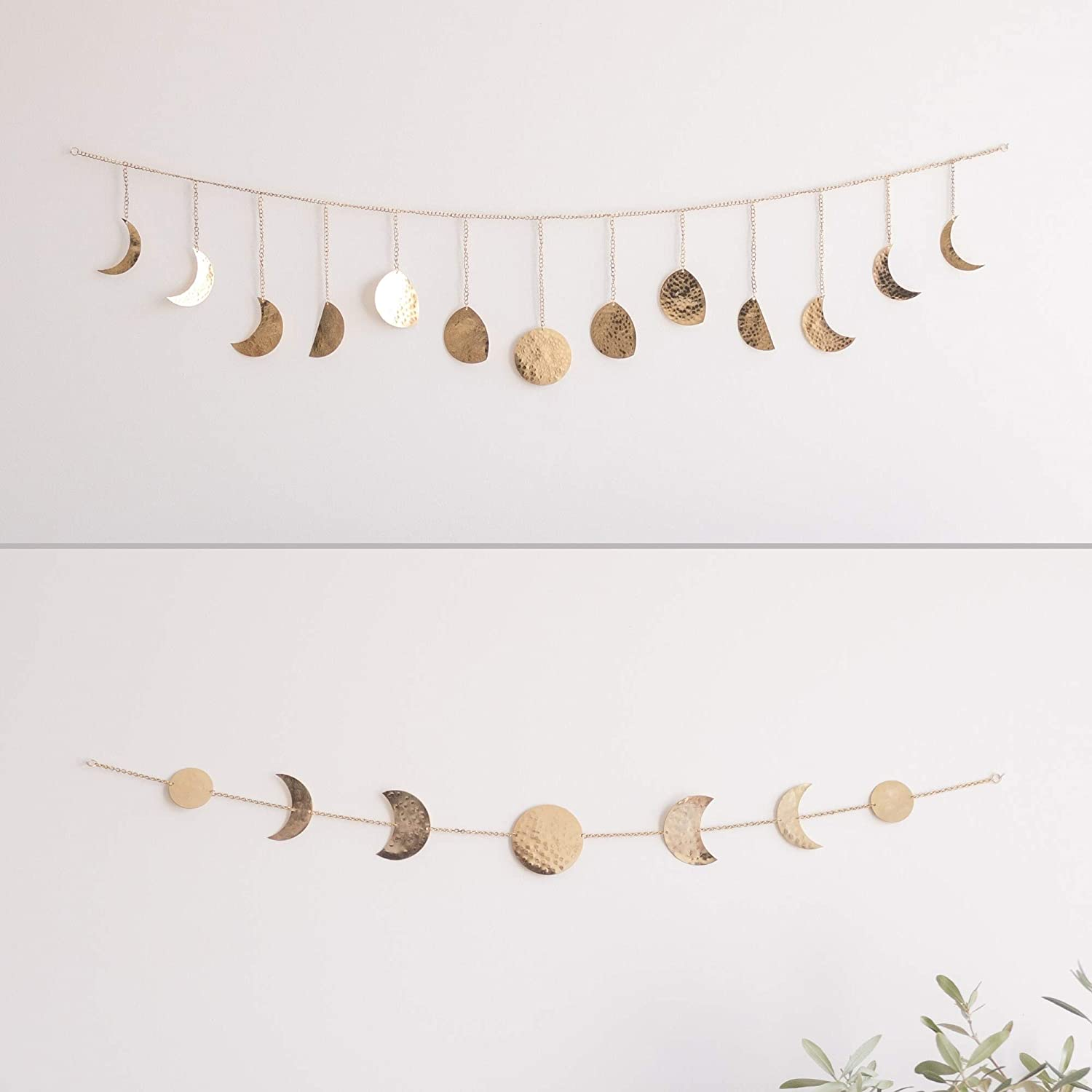 BASE ROOTS Moon Decor Wall Decorations | Handmade Hammered Detailing | Boho Accents Wall Decor | Moon Phases Wall Art | Moon Phases Wall Hanging | Bohemian Decor for Bedroom, Home, Living Room Apartme