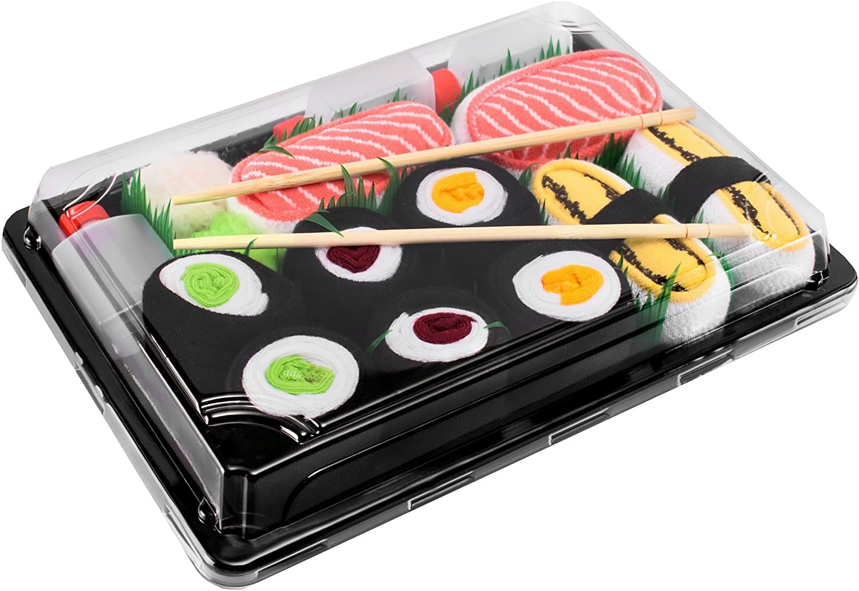 Rainbow Socks - Mujer Hombre Calcetines Sushi Tamago Salmón 3x Maki - 5 Pares