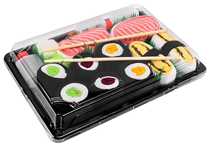 Sushi Socks Box 5 pares de CALCETINES: Tamago, Salmón, Maki de Atún,